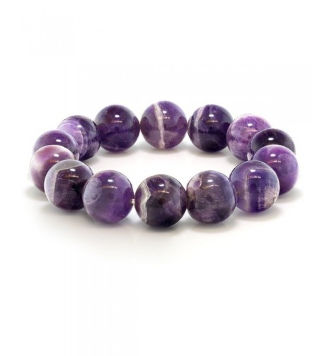 Purple Amethyst Gemstone Stretchy Bracelet