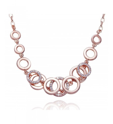 Fancydeli Plated Circle Necklace Crystals