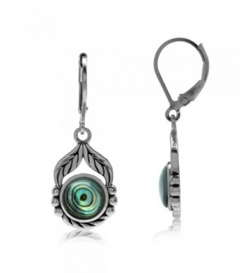 Abalone Sterling Silver Leverback Earrings