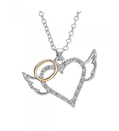 Angel Wings Heart Pendant Necklace