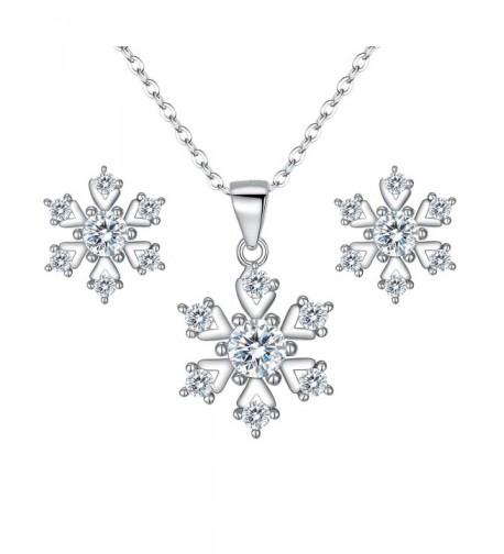 BriLove Sterling Zirconia Snowflake Necklace