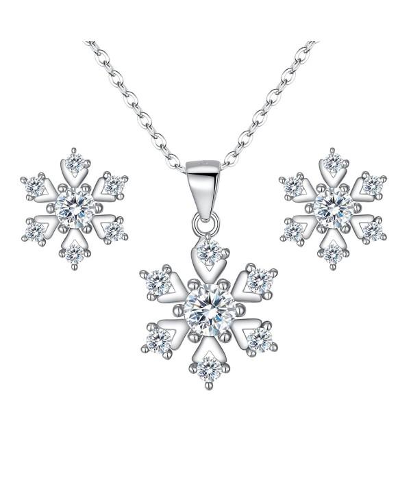 BriLove Women 925 Sterling Silver Cubic Zirconia Snowflake Pendant Necklace Stud Earrings Set Clear