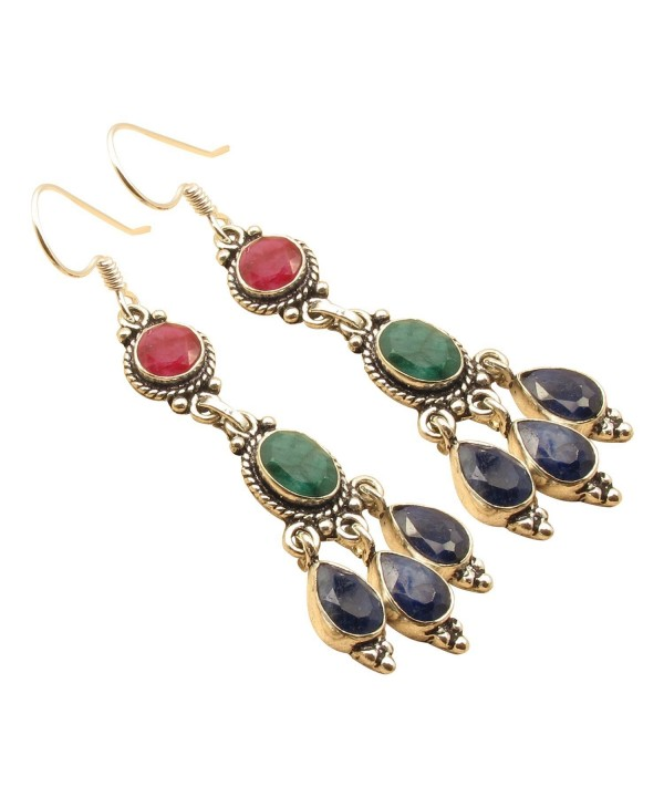 EMERALD SAPPHIRE Colorful Earrings Jewelry