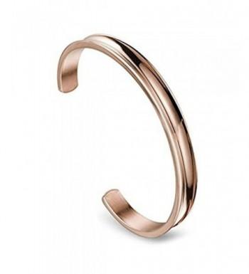 Stainless Grooved Bracelets Polished 7mm rose gold