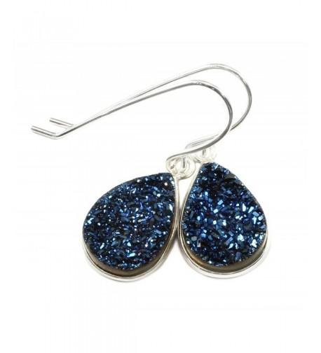 Sterling Earrings Peacock Teardrop Silvertone