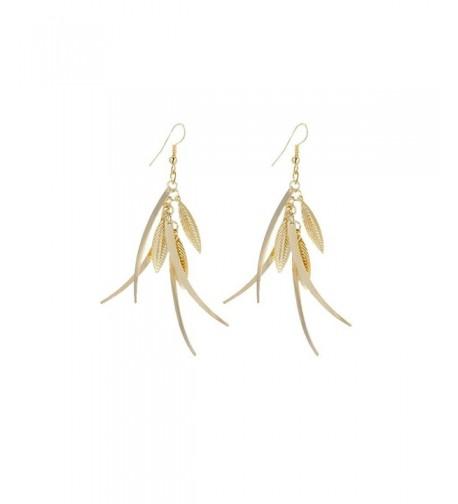 Dangle Triple Feather Drop Earrings