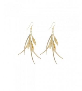 Dangle Triple Feather Drop Earrings