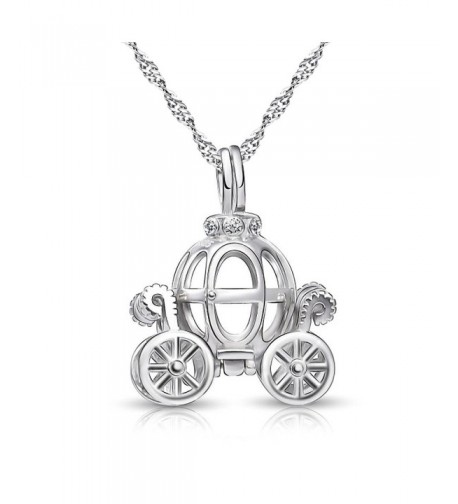 Sterling Pumpkin Carriage Pendant Necklace