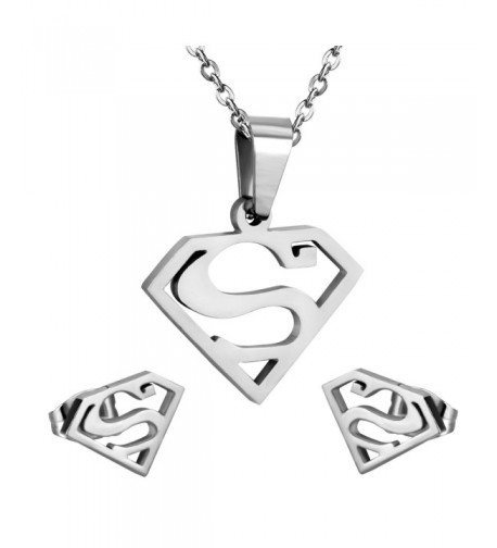 Stainless Steel Superman Pendant Silver