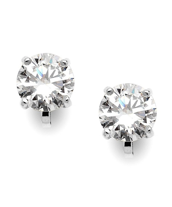 Mariell Silver Platinum Plated Carat Earrings