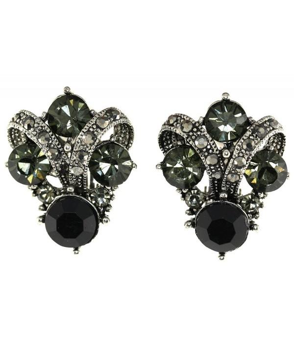 Vintage Simulated Rhinestone Clip Earrings