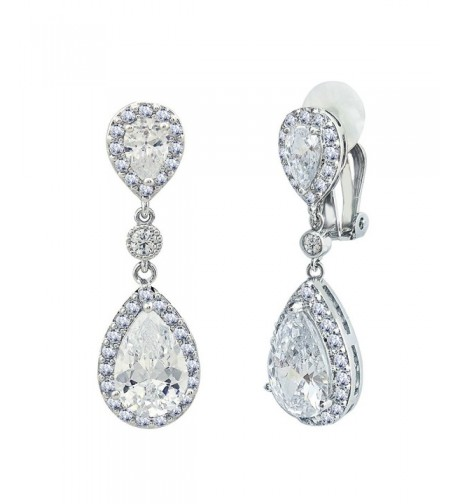 SELOVO Zirconia Wedding Earrings Silver