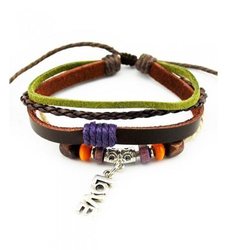Multi Strand Braided Adjustable Leather Bracelet