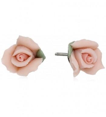 1928 Jewelry Pink Porcelain Earrings