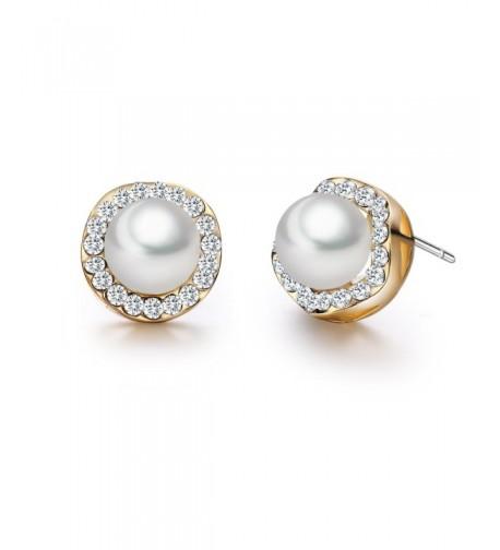 SBLING Plated White Zirconia Earrings