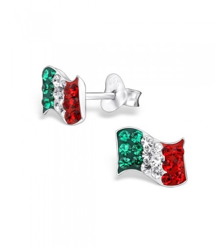 Sterling Silver Italy Crystals Earrings