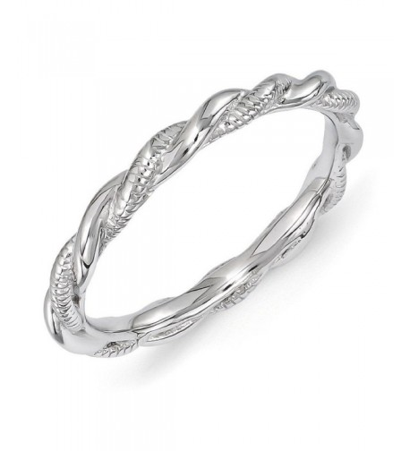 Rhodium Plated Sterling Stackable Twisted
