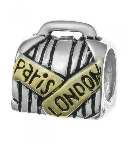 2 tone Sterling Suitcase European Bracelets