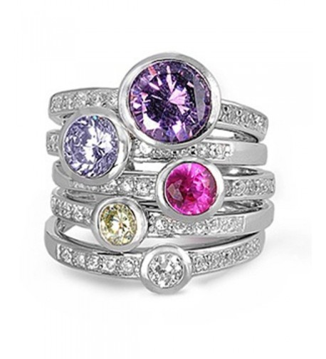 Sterling Silver Womens Multicolor Stackable
