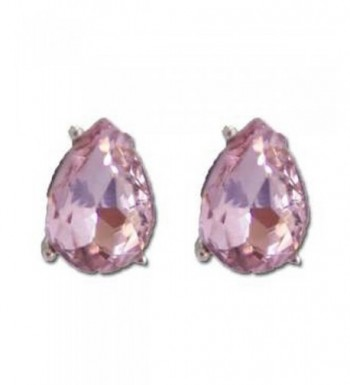 Pink Pear Shaped Clear Crystal Earrings