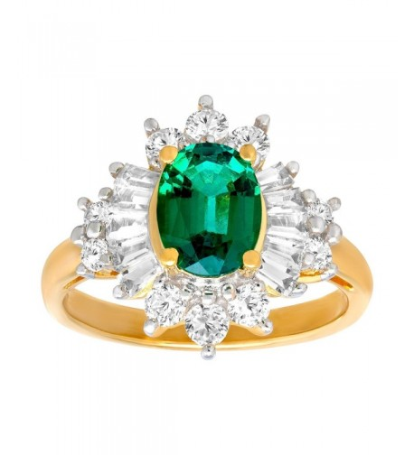 Created Emerald Sapphire Gold Plated Sterling