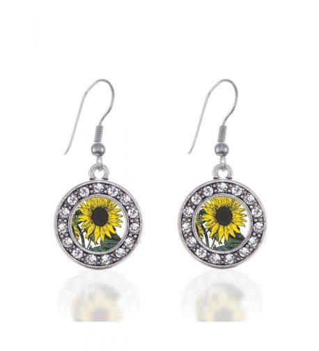 Sunflower Circle Earrings Crystal Rhinestones