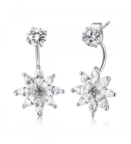 Mytys Double Flower Zirconia Earrings