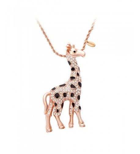 SENFAI Giraffe Crystal Sweater Necklace