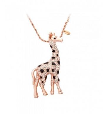 SENFAI Giraffe Crystal Sweater Necklace