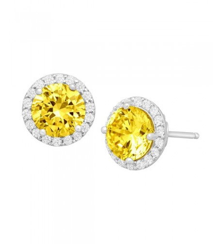 Earrings Yellow Swarovski Zirconia Sterling