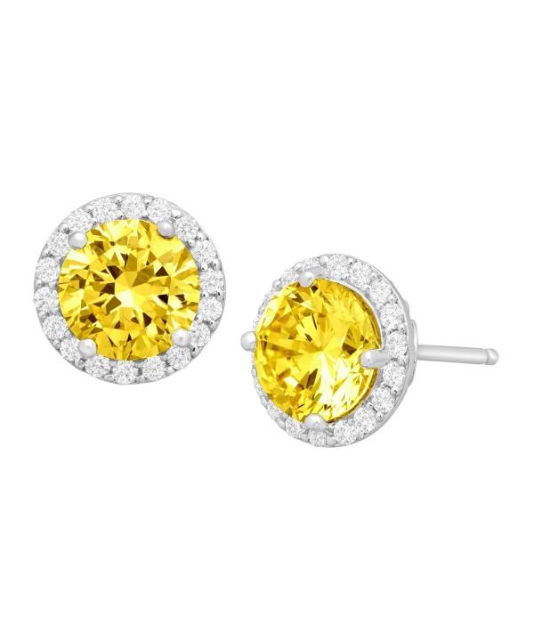 Earrings Yellow Swarovski Zirconia Sterling