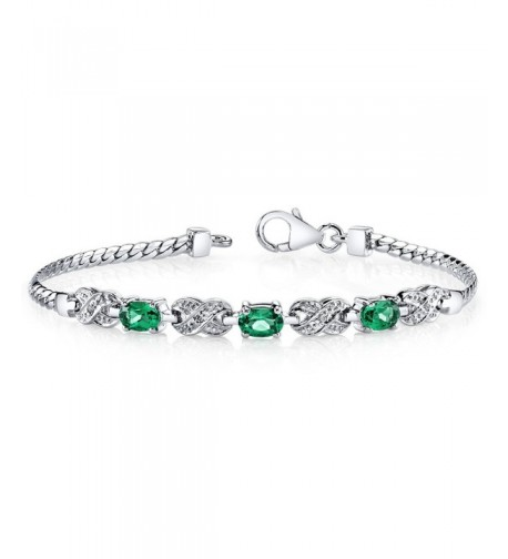 Simulated Emerald Bracelet Sterling Silver