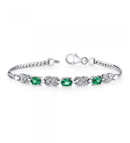 Simulated Emerald Bracelet Sterling Silver