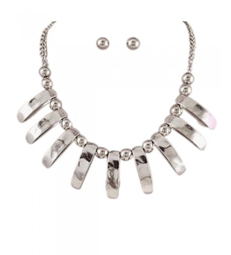 Silver Statement Necklace Earring Jewelry