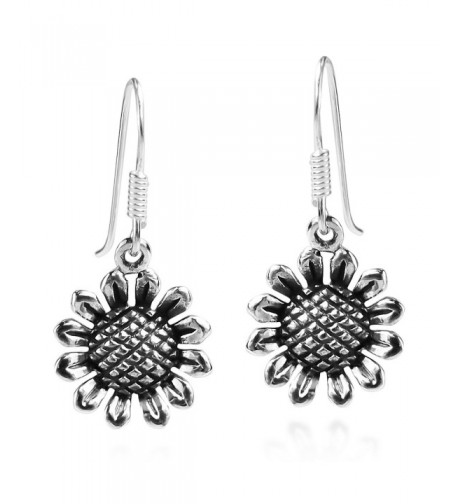 Charming Sunflower Sterling Silver Earrings
