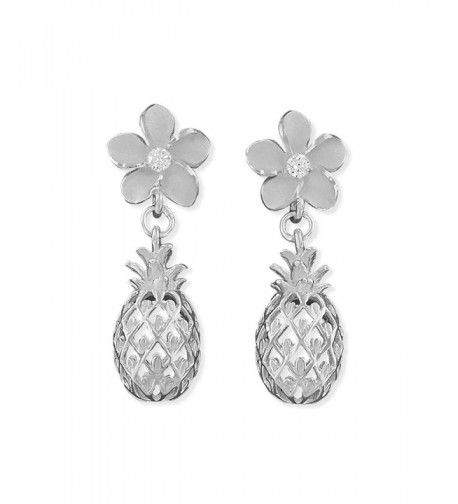 Sterling Silver Plumeria Pineapple Earrings