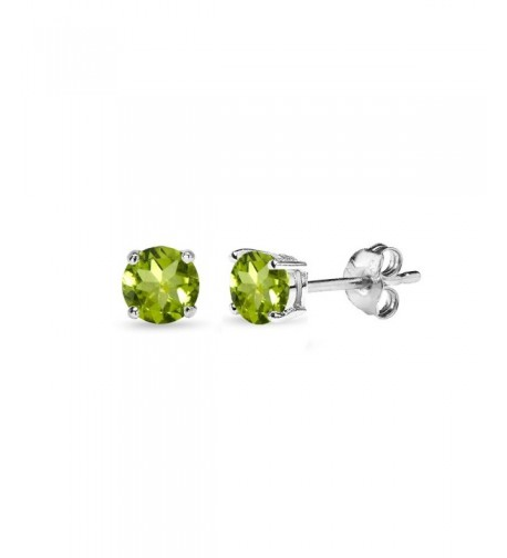 Sterling Peridot Round Cut Solitaire Earrings