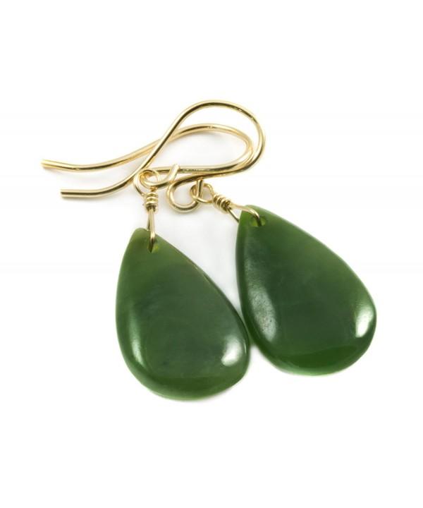 09426b338 14k Gold Filled Nephrite Jade Dark Green Earrings Teardrop Smooth ...