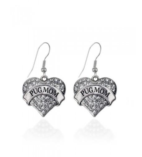 Heart Earrings French Crystal Rhinestones