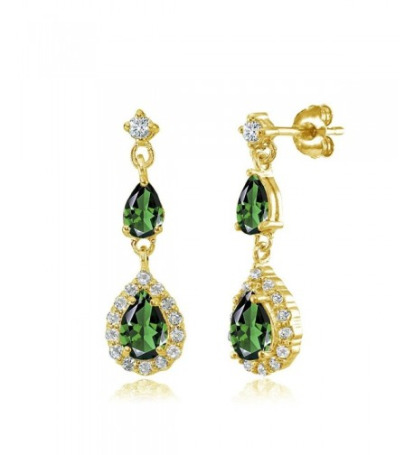 Flashed Sterling Simulated Teardrop Earrings