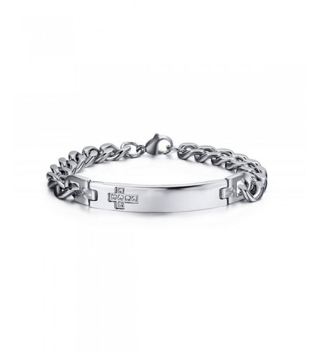 Womens Stainless Zirconia Bracelet Engraving