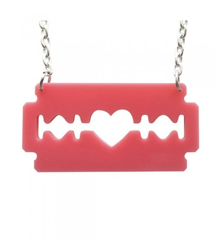 Razorblade Necklace Bubblegum Laser Acrylic