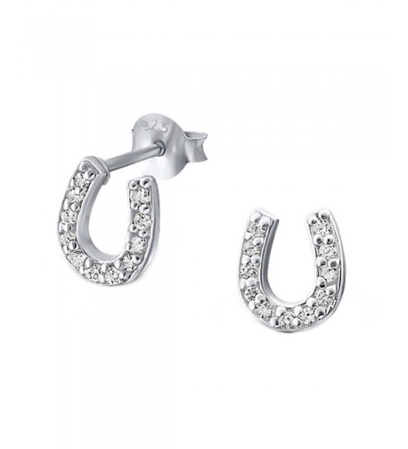 Sterling Silver Horseshoe Earrings E18403