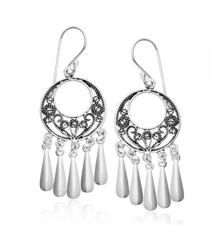 Sterling Silver Filigree Chandelier Earrings