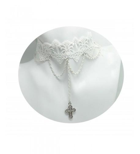 Handmade White Cross Necklace Choker