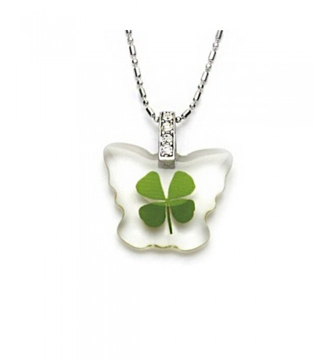 Stainless Clover Butterfly Pendant Necklace