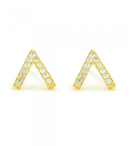 Minialist Micropave Earrings Plated Yellow