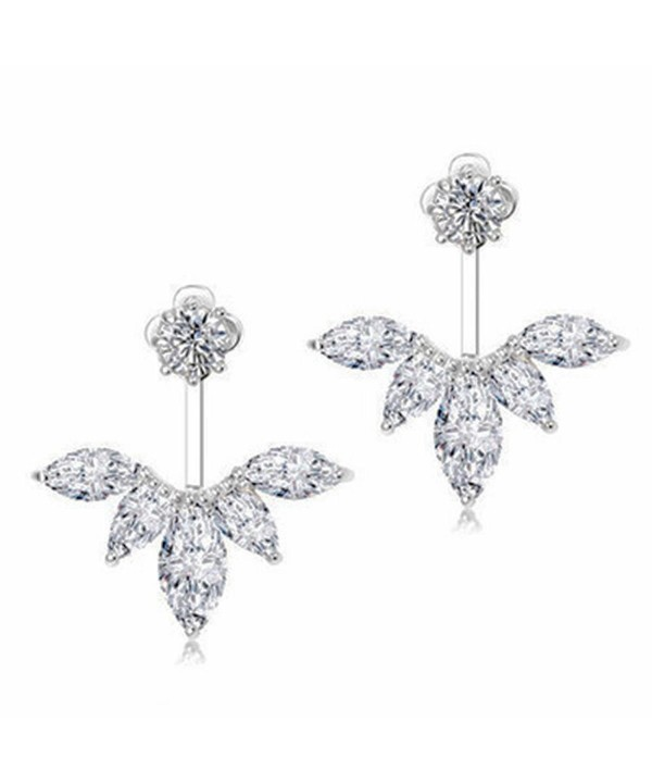 7b301aa9d 18K White Gold Plated Clear Crystal Leaf Feather Ear Jacket Earrings ...