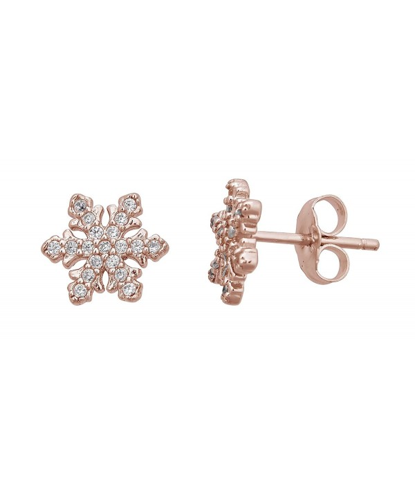 Sterling Snowflake Earrings rose gold sterling silver