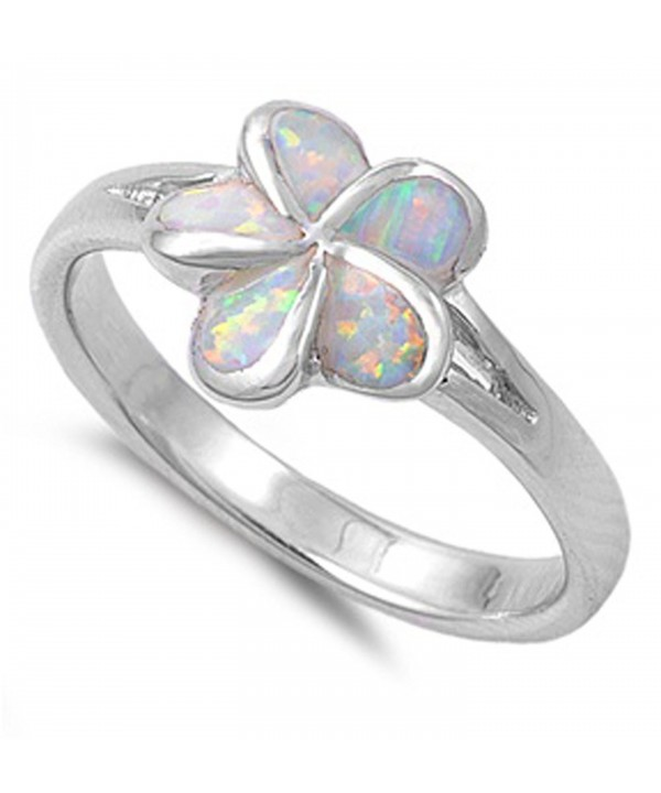 Simulated Plumeria Tropical Sterling Silver